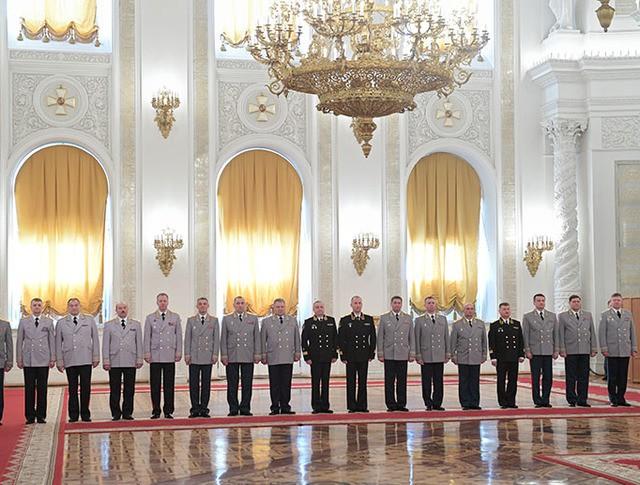 Высшие офицеры в Кремле на встрече с президентом России Владимиром Путиным