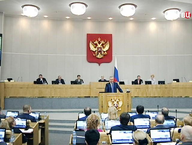 Вячеслав Володин выступает на заседании Госдумы