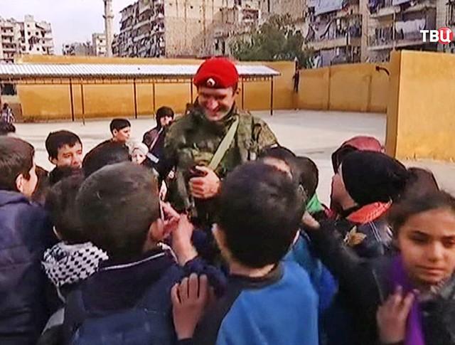 Военная полиция в Сирии и школьники