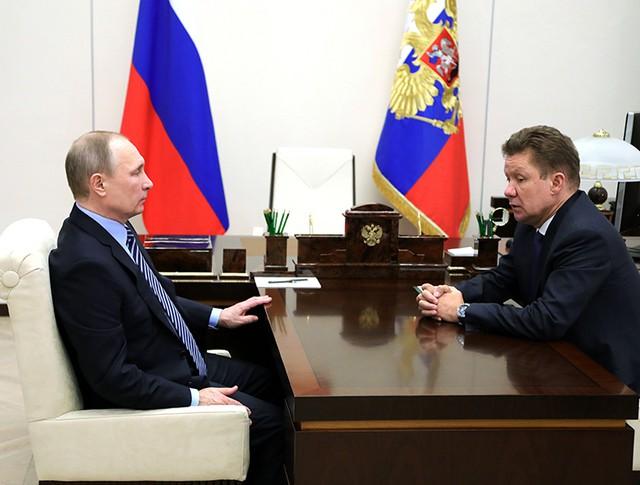 Владимир Путин и Алексей Миллер во время встречи