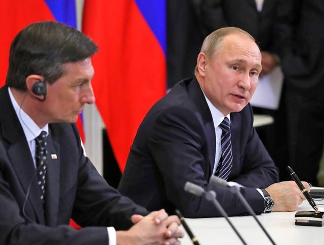 Президент России Владимир Путин и президент Словении Борут Пахор