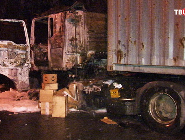 Сгоревший грузовик с почтой