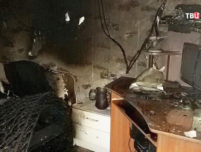 Квартира после пожара в доме в городе Ак-Довурак