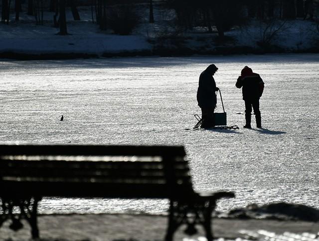 Рыбаки на льду пруда