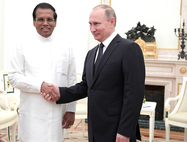 Президент России Владимир Путин и президент Шри-Ланки Майтрипала Сирисена