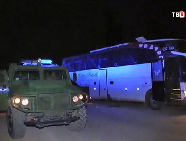 Автобусы для эвакуацию беженцев в Сирии