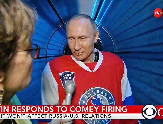 Владимир Путин дает комментарий журналистке телеканала CBSN