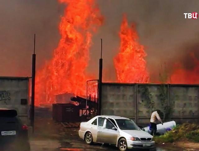 Сгоревшие дома в Канске