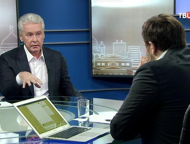 Мэр Москвы Сергей Собянин дает интервью