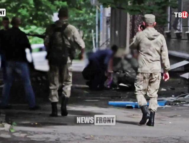 Последствия взрыва в Луганске