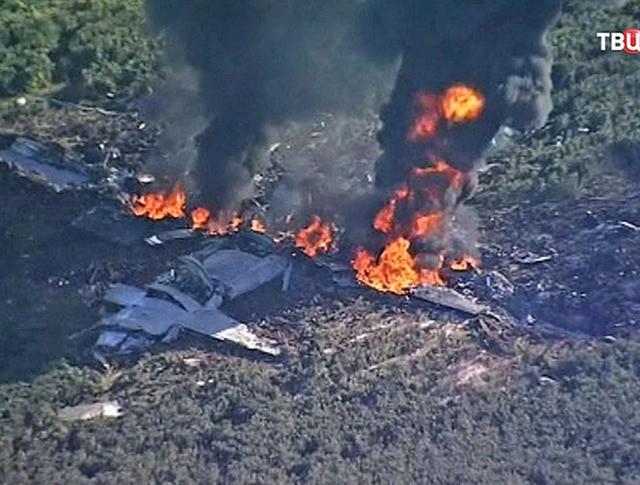 Крушение военного самолета в США