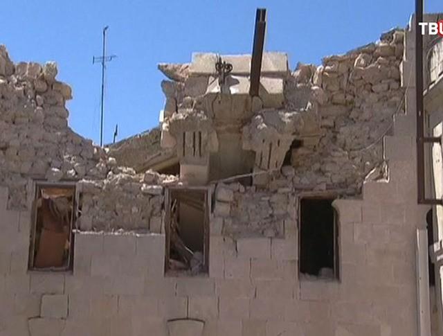 Последствия обстрела в Сирии