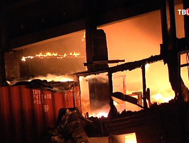 Крупный пожар на севере Москвы