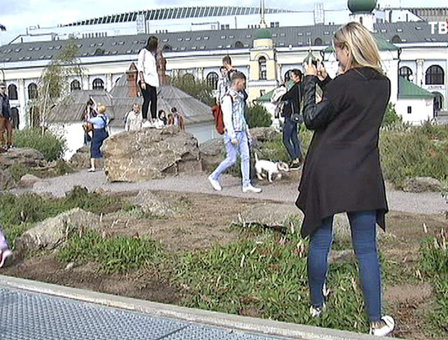 Посетители парка ходят по цветам