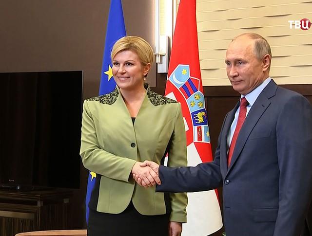 Президент России Владимир Путин и президент Хорватии Колинда Грабар-Китарович