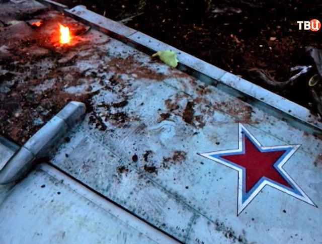 Место падения сбитого террористами штурмовика Су-25 ВКС России в Сирии