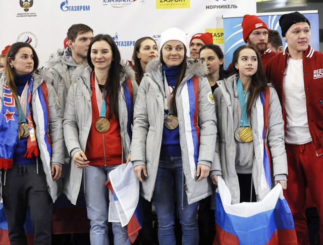 Церемония встречи российских спортсменов - участников Олимпиады 2018