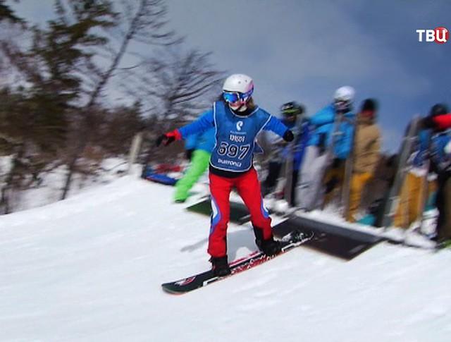 Паралимпийцы на сноубордической трассе