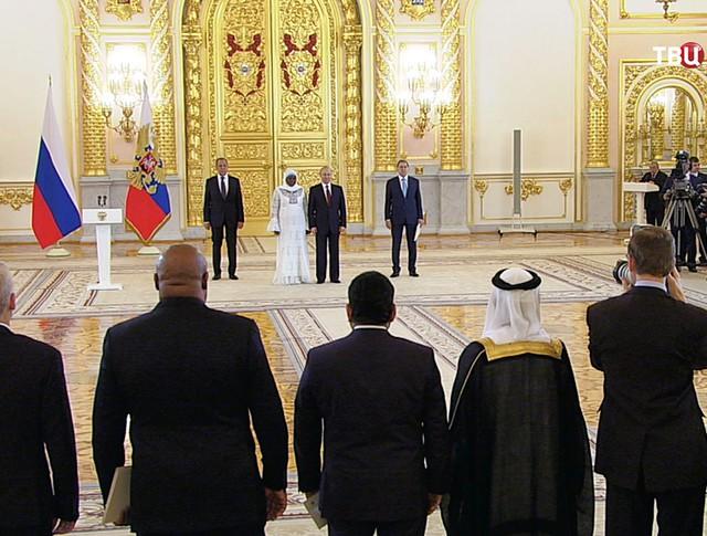 Владимир Путин на церемонии вручения верительных грамот у послов иностранных государств