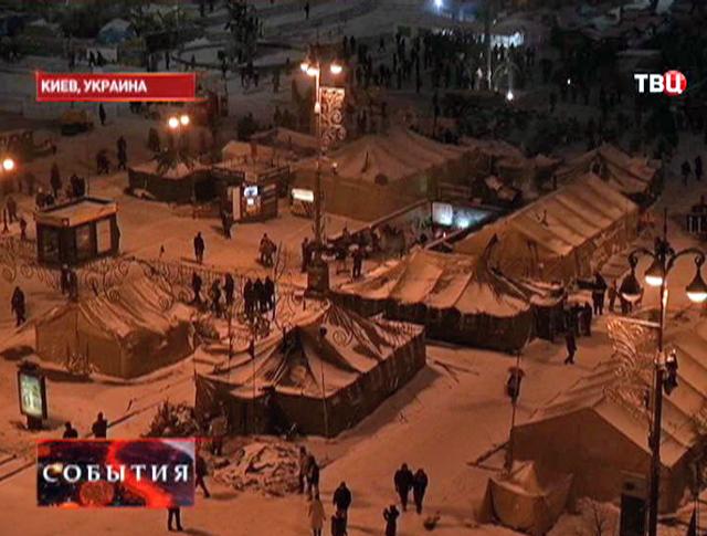 Лагерь протестующих на Украине