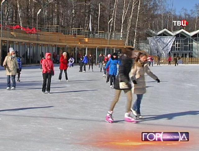 Студенты катаются на коньках