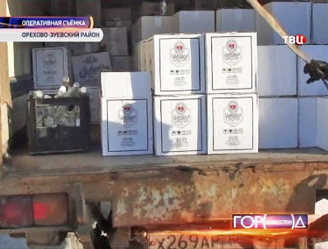 Коробки с контрафактным алкоголем