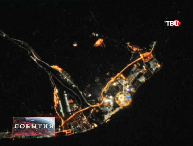 Вид из космоса на город Сочи