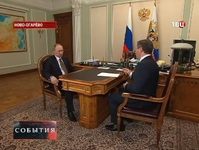 Владимир Путин на встрече с главой Липецкой области Олегом Королёвым