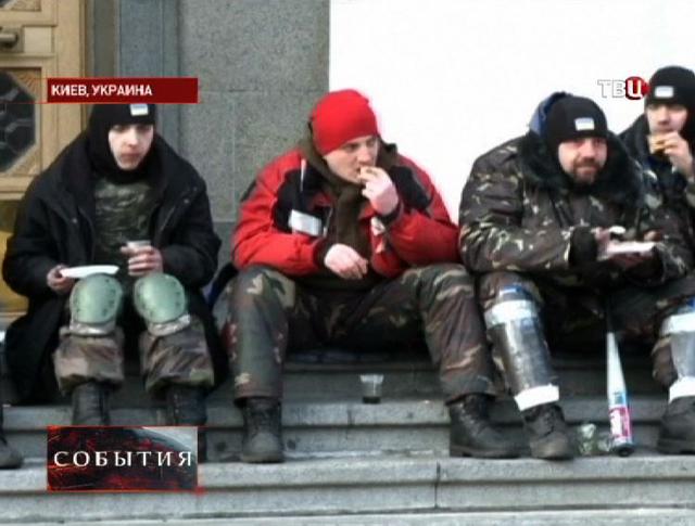 Протестующие активисты в Киеве