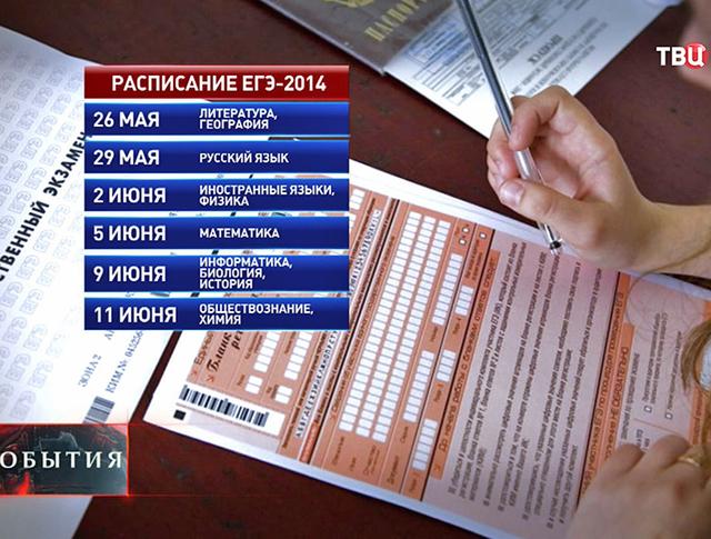 Инфографика расписания ЕГЭ