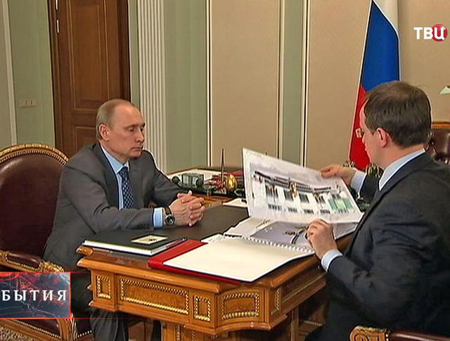 Владимир Путин и министр культур Владимир Мединский