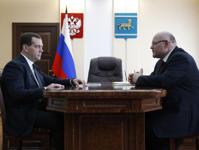 Дмитрий Медведев и глава Еврейской автономной области Александр Винников
