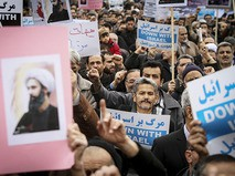 Жители Ирана на демонстрации против казни шиитского священнослужителя в Саудовской Аравии