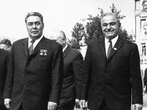 Генеральный секретарь ЦК КПСС Леонид Брежнев и советский партийный и государственный деятель Василий Мжаванадзе