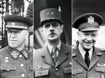 Генерал Георгий Жуков (СССР), генерал Шарль де Голль (Франция) и генерал Дуайт Эйзенхауэр (США)