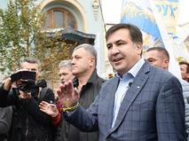 Экс-губернатор Одесской области Михаил Саакашвили участвует в акции в Киеве