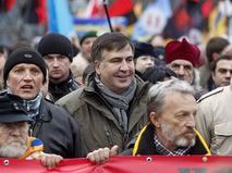 Михаил Саакашвили на акции протеств в Киеве