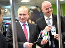 Владимир Путин и президент FIFA Джанни Инфантино