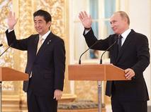 Премьер-министр Японии Синдзо Абэ и президент России Владимир Путин во время встречи