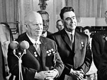 Никита Хрущёв и Леонид Брежнев на приёме в Кремле