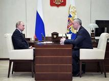 Владимир Путин и врио губернатора Новосибирской области Андрей Травников