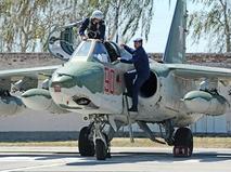 Штурмовик Су-25 на одном из военных аэродромов Краснодарского края после многодневной командировки в Сирии
