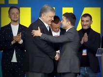 Пётр Порошенко и Владимир Зеленский во время дебатов