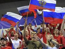 Российские болельщики во время олимпийского турнира