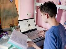 Школьник за ноутбуком