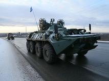 Колонна военной техники российских миротворцев