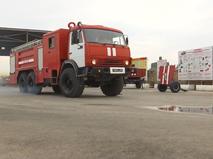 Учения военных пожарных на базе Хмеймим