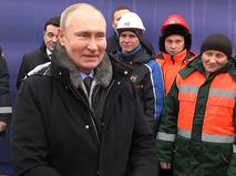 Владимир Путин на открытии транспортной развязки в Химках