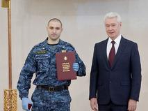 Сергей Собянин во время поздравления правоохранителей с Днем защитника Отечества