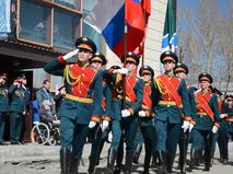 Парад в честь 100-летия ветерана в Новосибирске